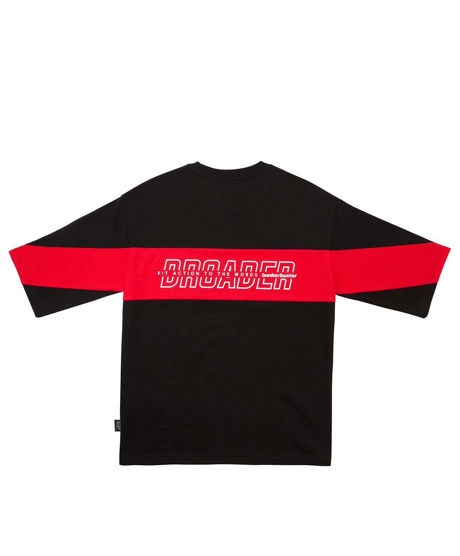 벙커버스터(BUNKERBUSTER) 뒷면 절개 배색 반팔 티셔츠